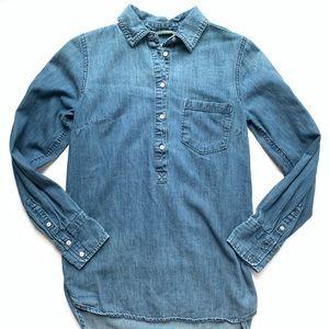 Womens Merona Blue Denim Half Button Top Sz XS